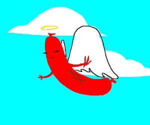 Angelical sausage takes flight