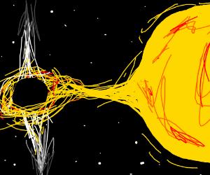Black hole sucking up the sun