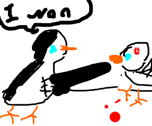 penguin fighting a seagull and the penguin win