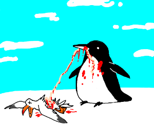 Penguin eating seagull's intestines