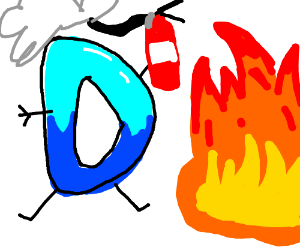 Drawception tries to put out a fire