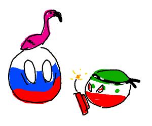 Russian flamingo terrorised