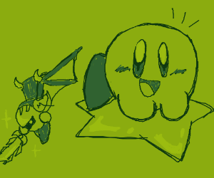 Kirby on a Warp Star flying with Meta Knight