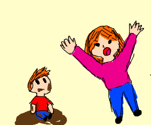 Mad mom yells at child eating mud