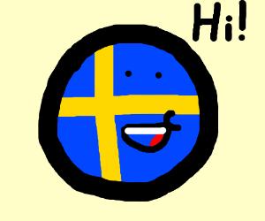 Swedish flag ball saying hello