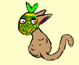 Hairless Cat With a Pineapple for a Head