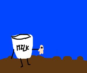 milk glass grabbing man
