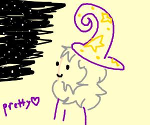 Wizard is star gazing.