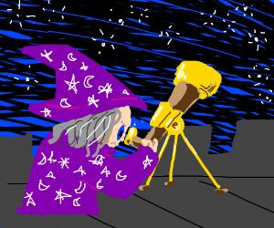 Wizard looking into telescope