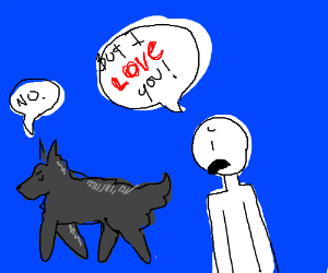 Man loves wolf. Wolf doesn't love man.