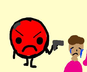 angry emoji killing a man