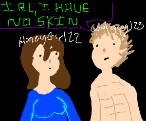 VR Chat with a Skinless Man - Drawception