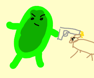 green monster shoots a dog