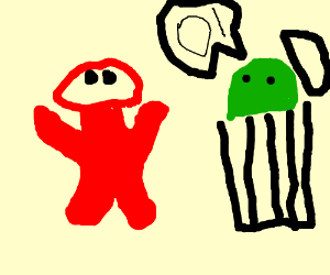 Elmo Staring At Something And Oscar Say Oi Drawing By Rekkinginfidels