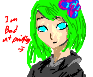 green hair girl thinks she is bad at painting