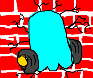 Pacman ghost on wheels runs into wall