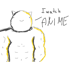 Buff cat watches anime