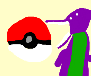 Capturing Barney in a pokeball