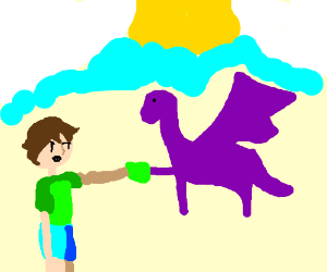 Purple dragon feeds child