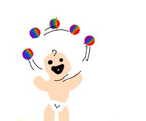 Baby juggling rainbow circles