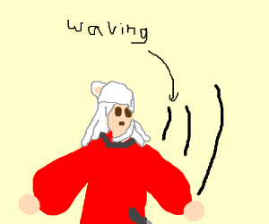 Inuyasha waving