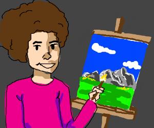 Bob Ross painting beautiful scenery