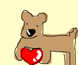 valentines day dog holding a heart