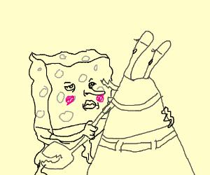 sponge bob takes hold of mr crabs