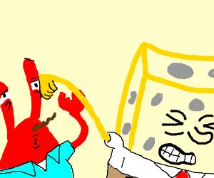 Spongebob hits Mr. Crabs in the eyeball