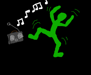 a dancer dancing to music on the radio