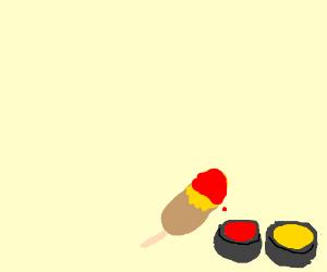 Corndog with ketchup and mustard
