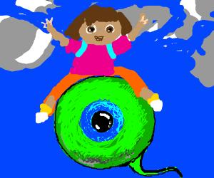 Dora the Explorer flying on Jacksepticeyes eye