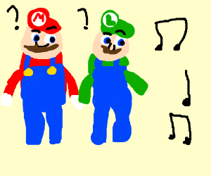 Mario and Luigi are confused by music