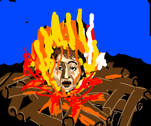 Man's Head in Campfire
