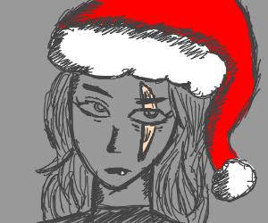 Scarred lady in Santa hat