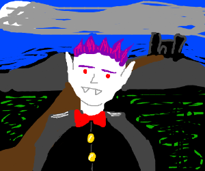 vampire with purple hair and coat