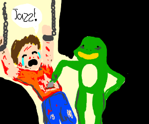 "Man saying ""jazz"" while being tortured by frog"