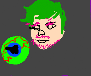 septiceye with pink facial hair
