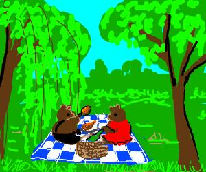 Bears having a picnic