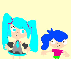 Hatsune Miku and another blue-haired girl