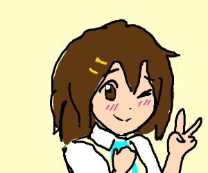 Cute Anime Girl Giving Peace Sign Drawing By Jamm Drawception