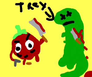 Tomato brutally kills a t-rex