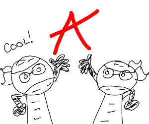 Red letter A being held by two guys
