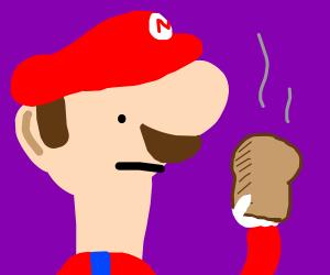 Mario stares at toast