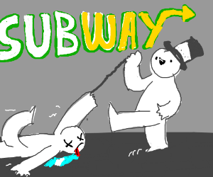 guy walks into subway with a dead body
