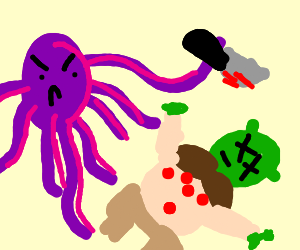 Octopus person stabs shrek several times