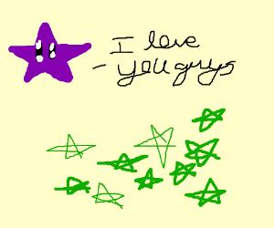 purple star tells green stars I love you guys