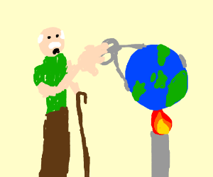 an old man is burning the earth