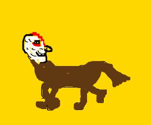 Chicken head on horse body