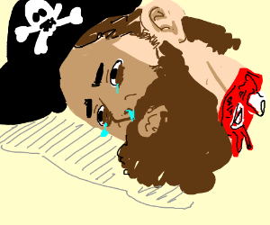 Blonde pirate's disembodied head is depressed